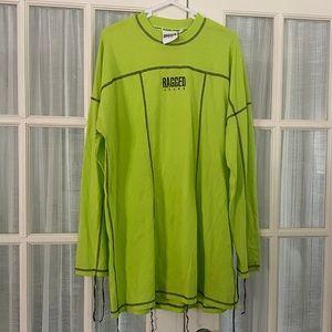 Neon ragged jeans shirt dress